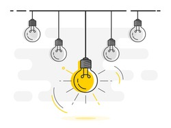 Set of hanging light bulbs with one glowing. Trendy flat vector light bulb icons with concept of idea on white background.