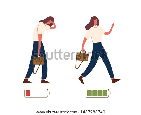 Set of happy and unhappy female office workers and vital power or battery charge indicator. Energetic and tired or exhausted girls and life energy indicaion. Flat cartoon colorful vector illustration.