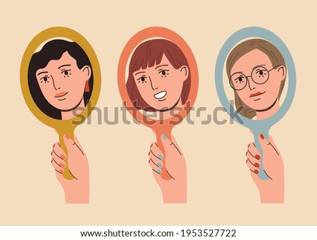Set of happy beautiful women looking in the mirror and smiling. Love yourself, self acceptance concept.  Hand drawn vector colorful funny cartoon style illustration Foto stock ©