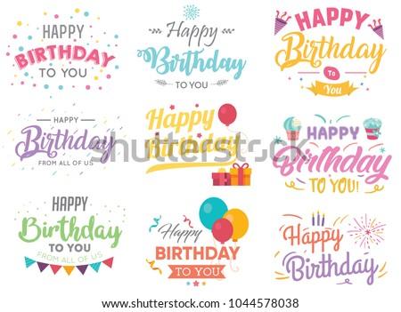Set of Happy Birthday Calligraphic And Typographic Background
