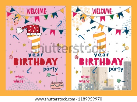 Cute First Happy Birthday Card Design Download Free Vector Art