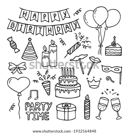 Set of Happy Birthday doodles. Sketch of Party decoration, gift box, cake, party hats.  Hand drawn vector illustration isolated on white background.