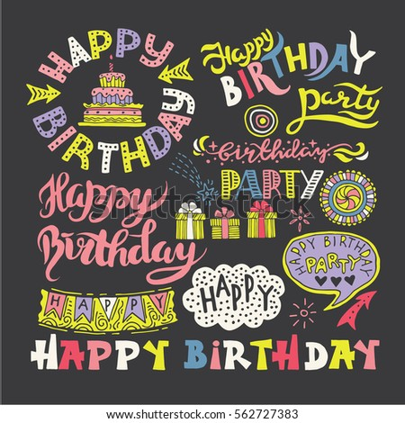 Set of Happy Birthday Hand Drawn Calligraphy Pen Brush Vector Design