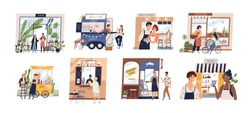 Set of happy cartoon diverse people work at family business vector flat illustration. Collection of owners and customers with small shop, cafe, store facades and services isolated on white