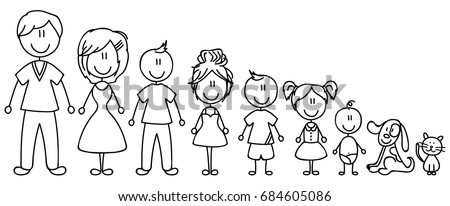 Set of happy cartoon doodle figure family, stick man. Stickman Illustration Featuring a Mother and Father and Kids. Vector Illustration, set of family in stick figures. Hand Drawn. - Shutterstock ID 684605086