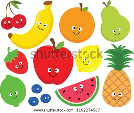 Set of happy cartoon fruit clipart.