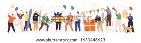 Set of happy cartoon people having fun at birthday party vector flat illustration. Concept of friends characters celebrating holiday isolated on white. Collection of smiling festive man and woman