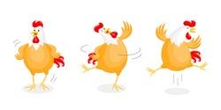 Set of happy chicken dancing. Rooster year character design, vector illustration isolated on white background.