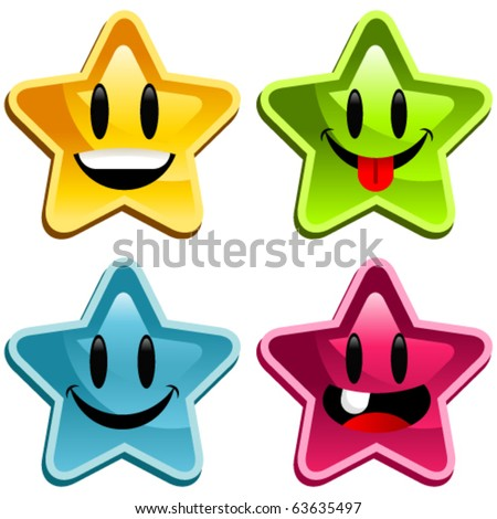 Colorful Stars Set of happy colorful stars