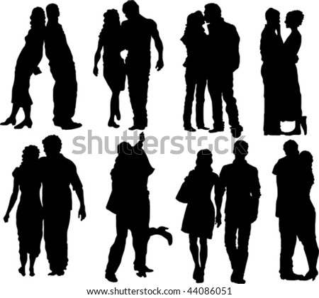 Set of happy couple silhouettes. Vector Illustration