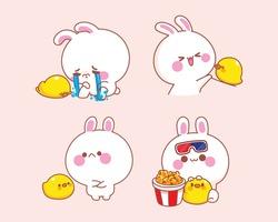 Set of happy cute rabbit with duck cartoon illustration