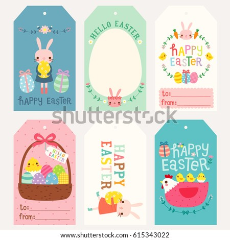 Shutterstock puzzlepix set of happy easter gift tags and cards cute bunny chicken and hen with eggs flowers floral wreath and typography design vector illustration negle Image collections