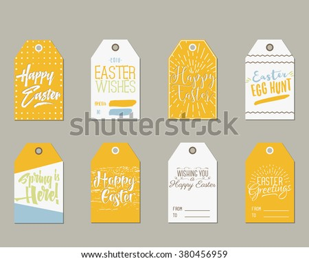 Easter gift tag vector collections download free vector art set of happy easter gift tags with ink lettering signs overlay labels black white negle Image collections