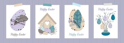 Set of HAPPY EASTER greeting cards. Cute Easter eggs, birdhouse, twigs and feathers. Eco-friendly decoration. Vector flat cartoon illustration. Great for poster, postcard, invitation, greeting, tag.