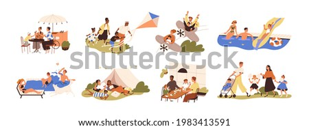 Set of happy families with children during outdoor recreation activities on summer holidays. Parents and kids eating, resting and playing together. Flat graphic vector illustration isolated on white. Stock foto ©