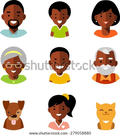 set of happy family of african