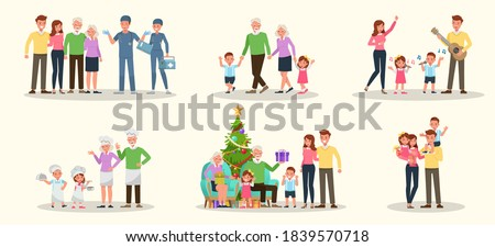Set of Happy family people mother, father, grandparents and children together character vector design. Presentation in various action with emotions, running, standing and walking.