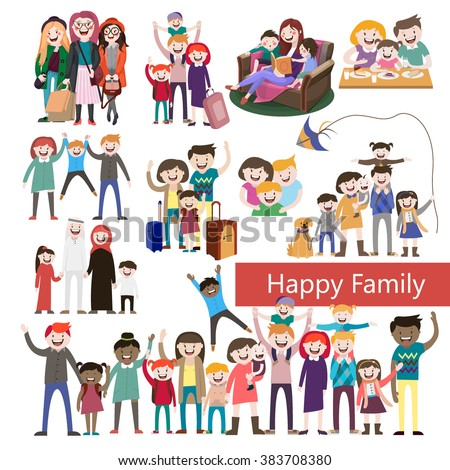 set of happy family  people