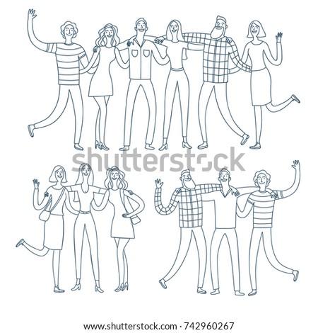 set of happy friends groups ...