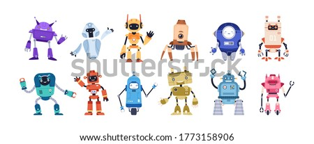 Set of happy funny cartoon childish robots wave hand, say hello. Cute kid cyborgs, retro, futuristic modern bots, android, smiling characters in flat vector illustration isolated on white background.