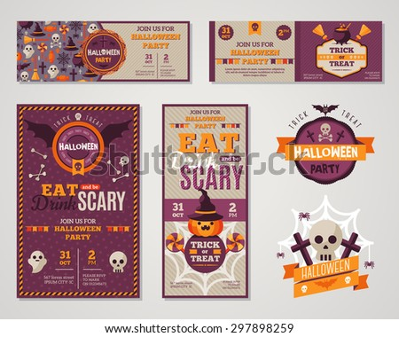 Set Of Happy Halloween Greeting Cards or Flyers. Vector Illustration. Party Invitation Design with Emblem. Typographic Template. Halloween Menu Cover Design. Eat, Drink and be Scary.