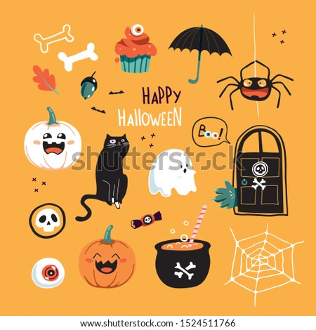 Set of happy halloween vector illustrations. Objects and objects for design. Characters.