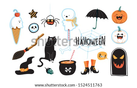 Set of happy halloween vector illustrations. Objects and objects for design. Witches helpers.
