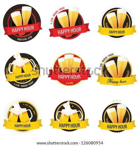 Set of happy hour restaurant, bar labels and badges isolated on white background