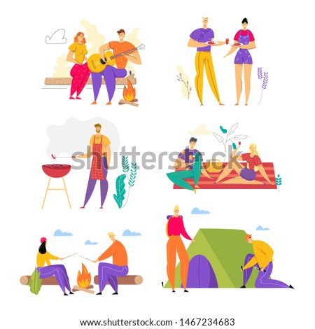 Set of Happy Loving Couples Spend Time Together Outdoors, Men and Woman Having Fun in Camping, Barbeque, People Enjoying Summer Outdoor Activity on Nature in Camp. Cartoon Flat Vector Illustration