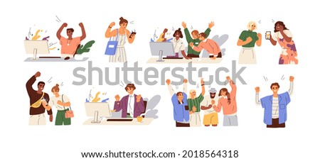 Set of happy lucky people celebrating success and victory. Concept of win, achievement and luck. Winners rejoicing their triumph. Colored flat graphic vector illustrations isolated on white background