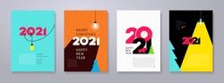 Set of 2021 Happy New Year posters. Creativity inspiration concepts with lightbulb on color background. Business solution,planning ideas. Glowing contents. Minimalist backgrounds for branding, banner.