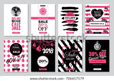 set of 2018 happy new year sale banners templates for on line shopping with black