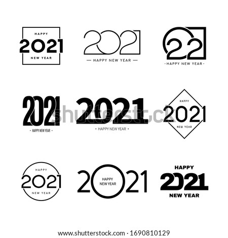 Set of 2021 happy new year signs. Collection of 2021 happy new year symbols. Vector illustration with black holiday labels isolated on white background.