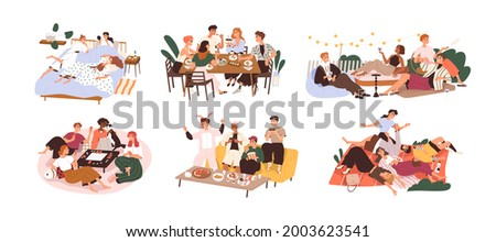 Set of happy people gathering together at holiday party. Friends having fun at leisure. Outdoors and indoors meetings and entertainments. Flat graphic vector illustrations isolated on white background