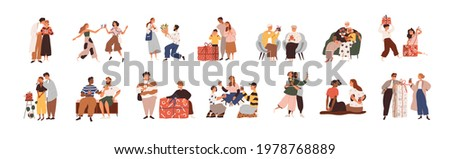 Set of happy people giving and receiving gifts, presenting flowers. Families, friends, love couples and children with presents. Colored flat graphic vector illustration isolated on white background