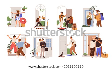 Set of happy people leaving or returning home. Man, woman and kid going out of open door with bags for holiday, studying, to work or school. Flat vector illustration isolated on white background
