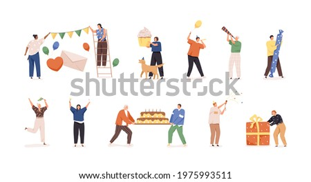 Set of happy people preparing for birthday party and celebrating holiday with garlands, balloons, champagne, cake, and gift boxes. Colored flat vector illustration isolated on white background