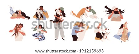 Set of happy pet owners with dogs and cats isolated on white background. Collection of people playing, hugging, cuddling with four-legged animal friends. Colored flat vector illustration.