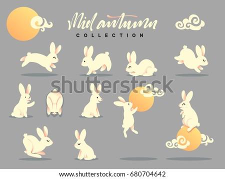 set of happy rabbit