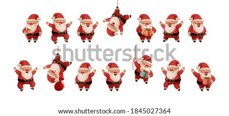 Set of Happy Santa Claus in red clothes. Realistic 3d character compatible doodle emoji elements on face. Collection objects Isolated on white background for Xmas festive design. Vector illustration