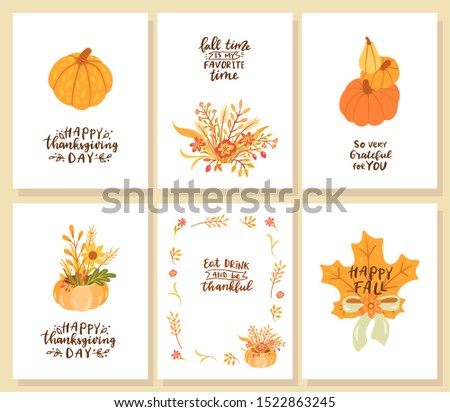 Set of happy thanksgiving day cards. So very grateful for you. Happy fall. Eat drink and be thankful. Fall time is my favorite time.  Сток-фото ©