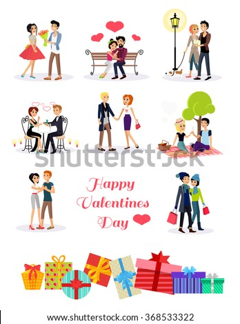 Set of happy valentine day couple in love on date. Romantic relationship lover illustration. Man give flower. Gifts with ribbon and bow. Woman man restaurant