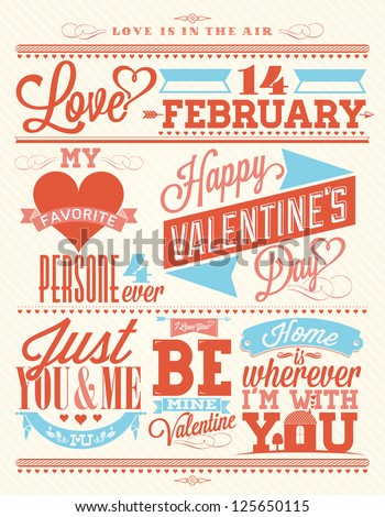 Set Of Happy Valentine\'s Day Hand Lettering - Typographical Background  With Ornaments, Hearts, Ribbon and Arrow
