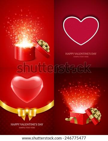 set of happy valentines day