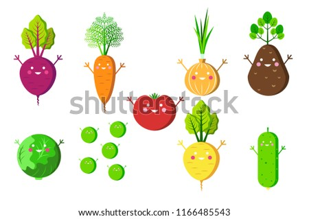 Set of happy vegetables icons. Beet, carrot, tomato, onion, potato, cabbage, green peas, turnip and cucumber. Flat style. Idea of stickers, infographic elements or web icons. Isolated on white. Vector