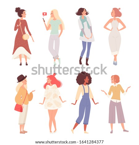 Set of happy women in various clothes in various poses. Casual Dressed Girls