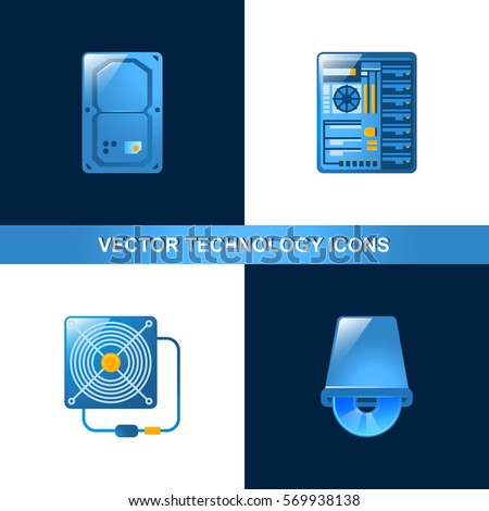 Set of 4 Hardware Icons, includes elements such as Hard disk, System block, Power supply unit and Disk drive. Can be used for Web, Mobile, UI and Infographic design.