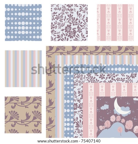 Set of 6 harmonious repeating patterns