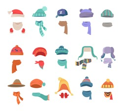 Set of hats and scarves for boys and girls in cold weather. Stylish hats and scarves. Clothes for winter and autumn. Blue, red, brown, violet, brown and orange hats and scarfs. Vector illustration.
