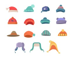 Set of hats for boys and girls in cold weather. Stylish hats. Clothes for winter and autumn. Blue, red, brown, violet, brown and orange hats. Vector illustration.